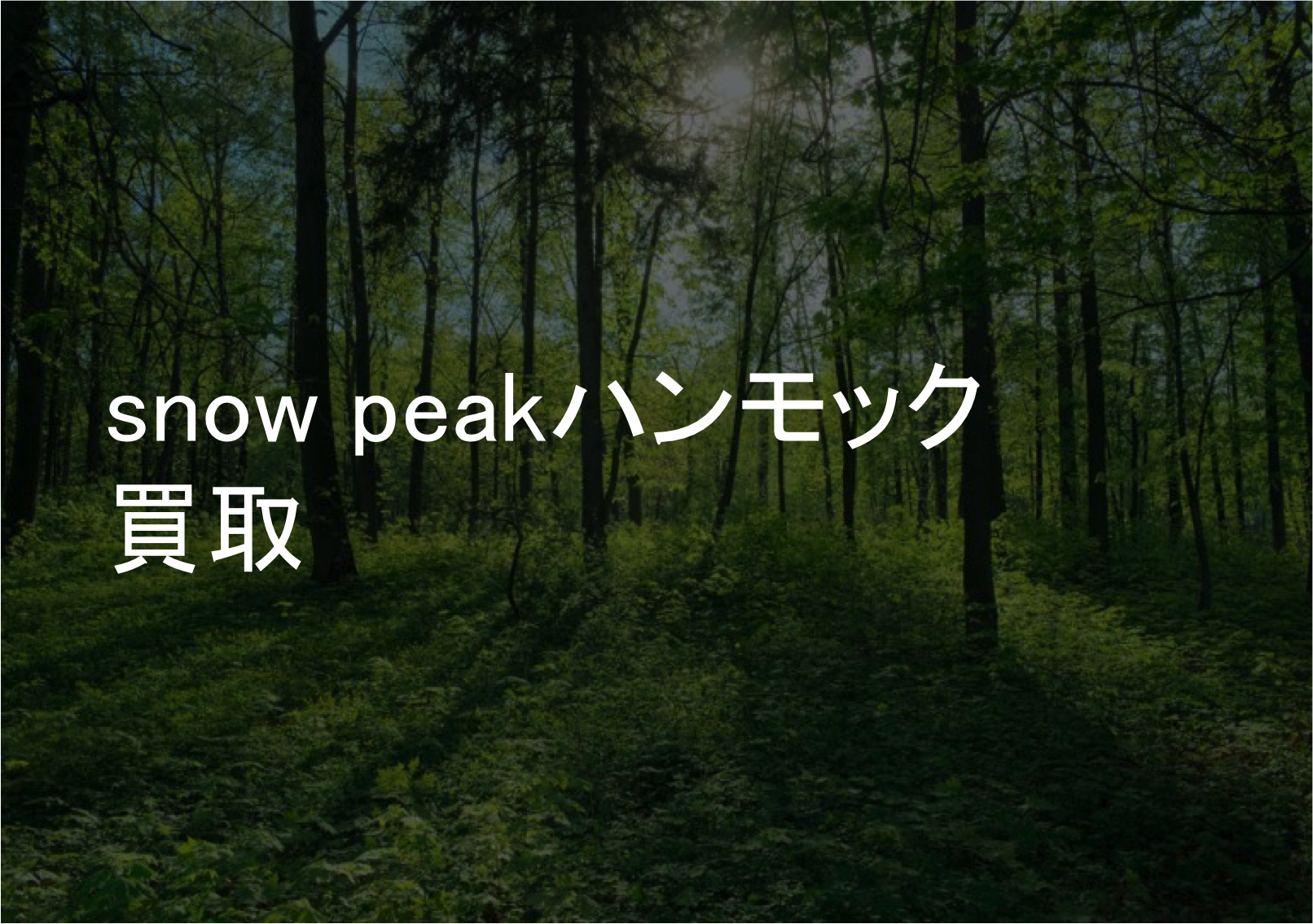 snow peak ハンモック買取なら